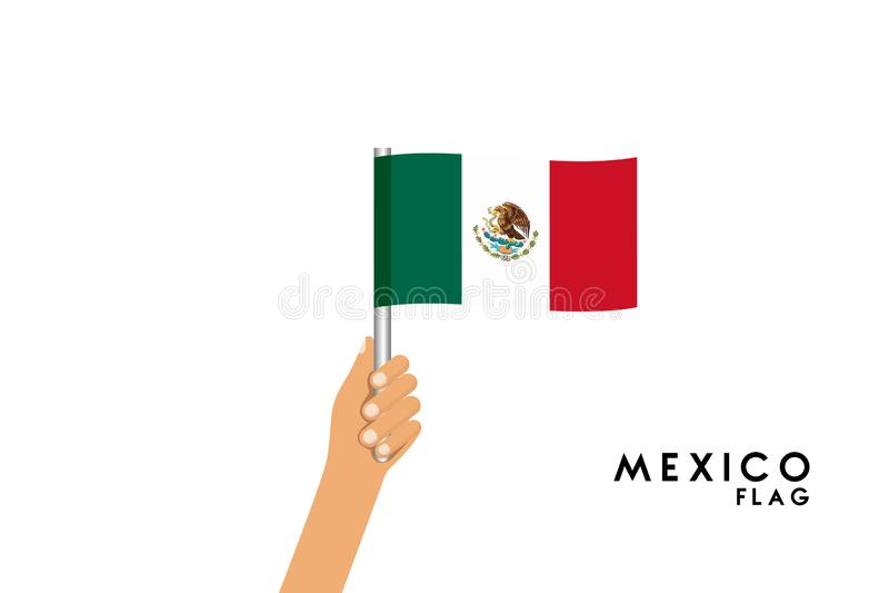 Vector cartoon illustration of human hands hold Mexico flag vector illustration