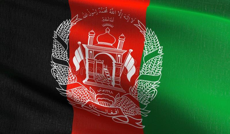 Afganistan flagi państowowej dmuchanie w wiatrze odizolowywającym Oficjalny patriotyczny abstrakcjonistyczny projekt 3D rendering ilustracji