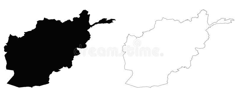 Afganistan konturu mapa royalty ilustracja
