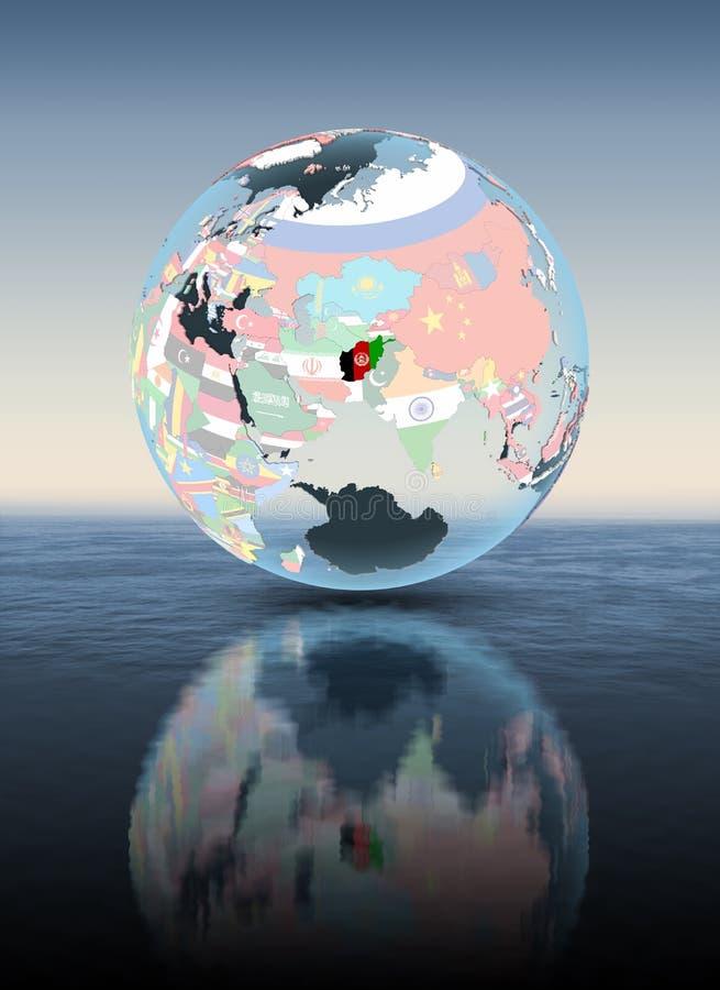 Afganistan na kuli ziemskiej z flaga above - wodą ilustracji