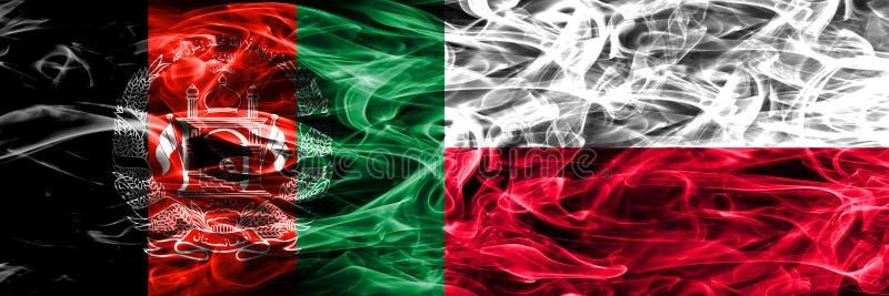 Afganistan vs Polska dymu flaga umieszczająca strona strona - obok - Gęste barwione silky dymne flaga Afghani i Polska zdjęcia stock