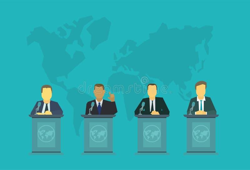 Afgevaardigden achter het podium De Internationale Assemblage van politiekgebeurtenissen, het beleid van de voorzitter van de ove stock fotografie