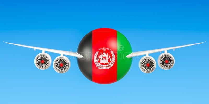 Afghaanse luchtvaartlijnen en het vliegen ` s concept het 3d teruggeven stock illustratie