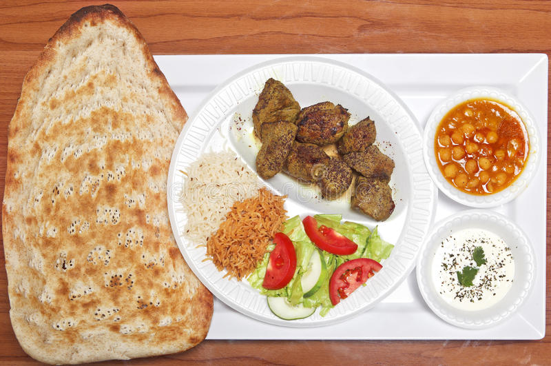 Afghan Grilled Lamb with Naan Bread stock image
