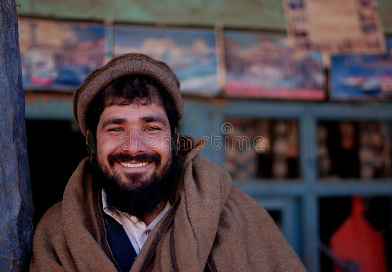 Afghan man at a market stock images