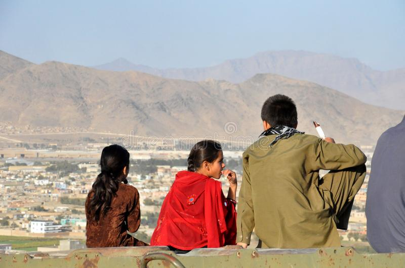 Afghan people making Picknick in the Hills of Kabul stock photo