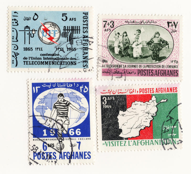 Afghanes 1965 vastgestelde postzegels royalty-vrije stock afbeeldingen