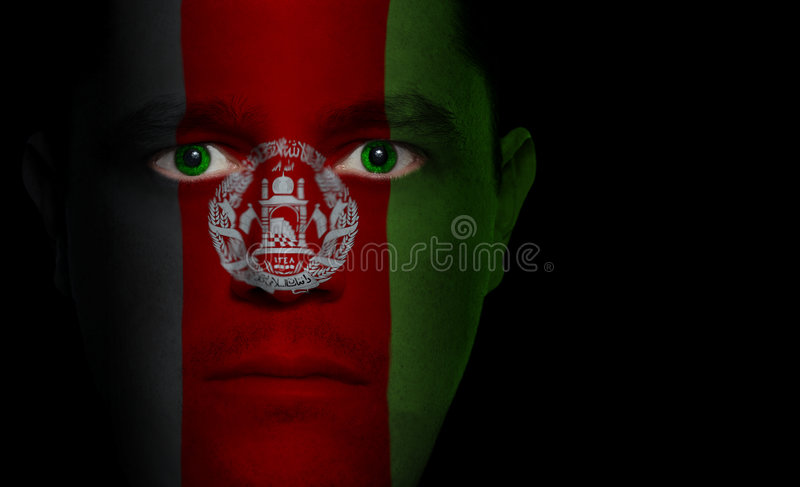 Afghanische Markierungsfahne - männliches Gesicht lizenzfreie stockfotos
