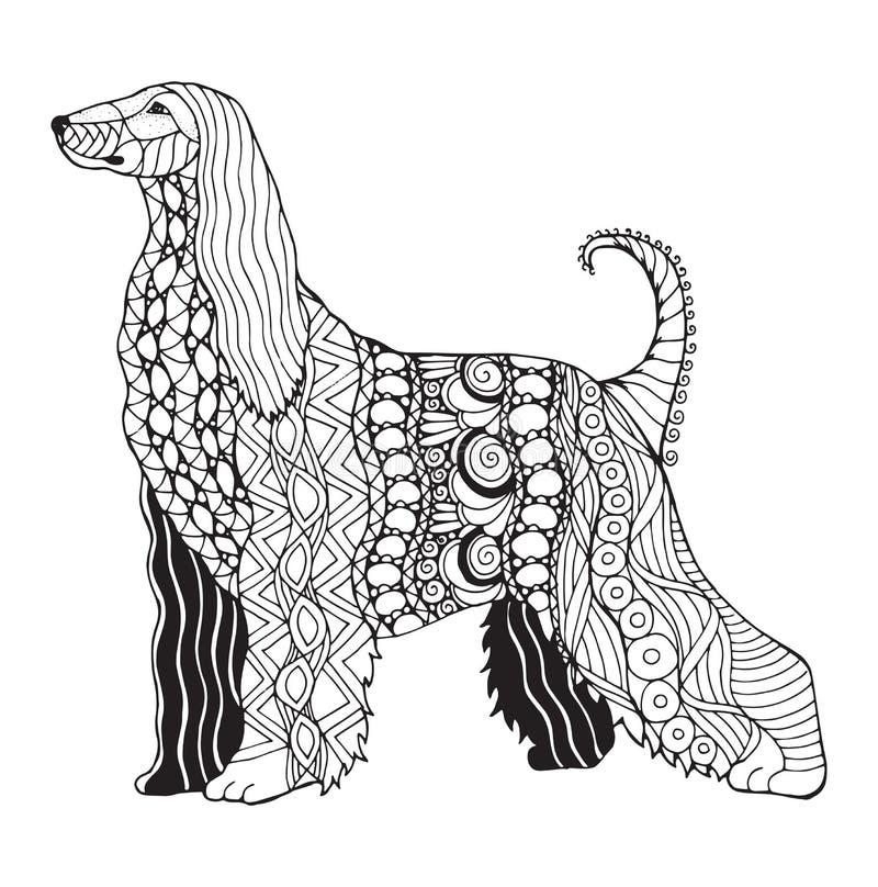 Afghanisches Jagdhund zentangle stilisierte, vector, Illustration, freeh stock abbildung