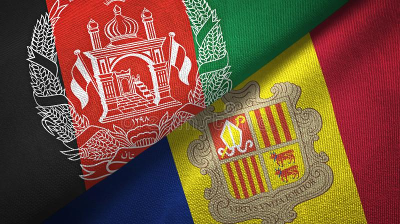 Afghanistan and Andorra two flags textile cloth, fabric texture. Afghanistan and Andorra two folded flags together vector illustration