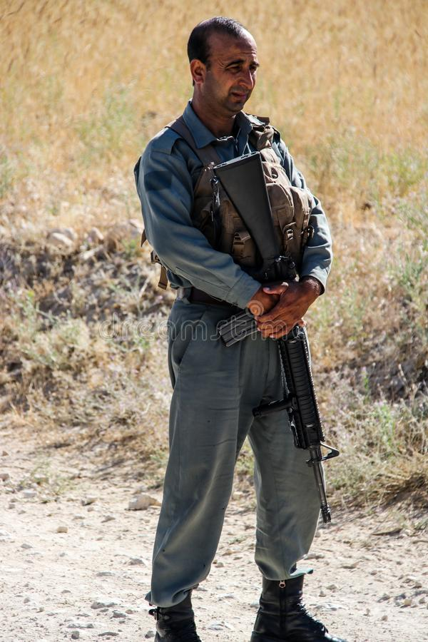Afghanistan armed escort and security detail team stock photo
