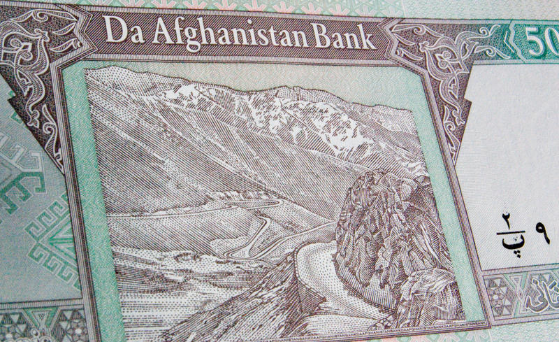 afghanistan banknotu hinduski kush przepustki salang fotografia stock
