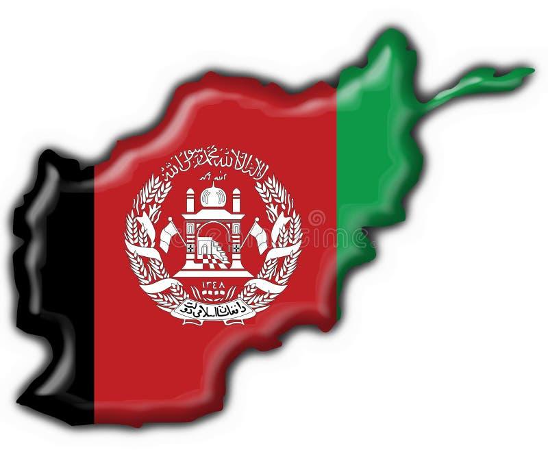 Afghanistan button flag map shape. 3d vector illustration