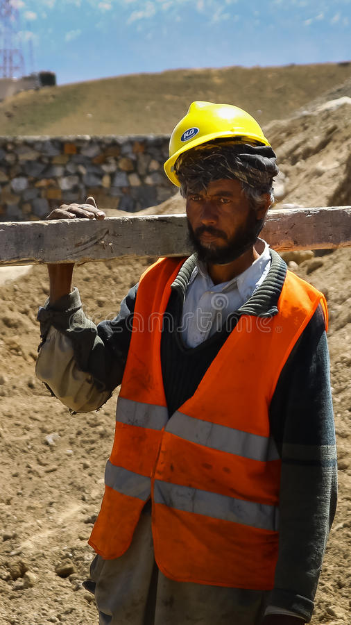 Afghanistan construction worker royalty free stock image