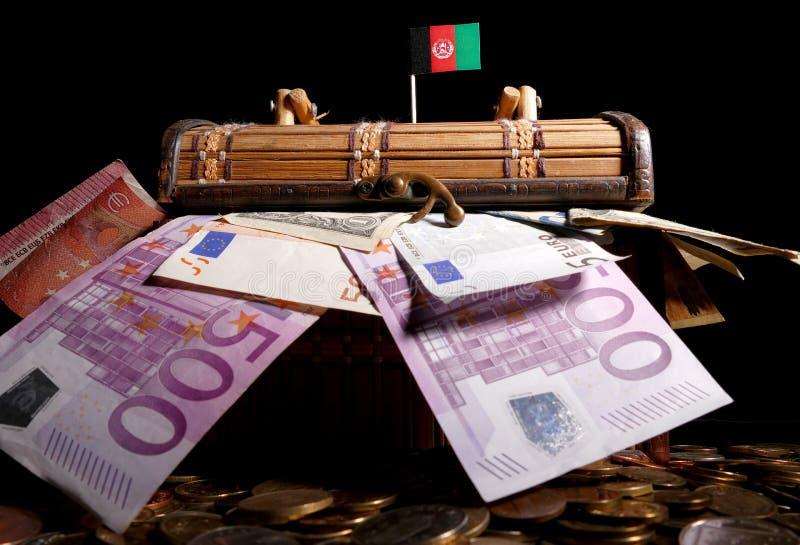 Afghanistan flagga överst av spjällådan fotografering för bildbyråer