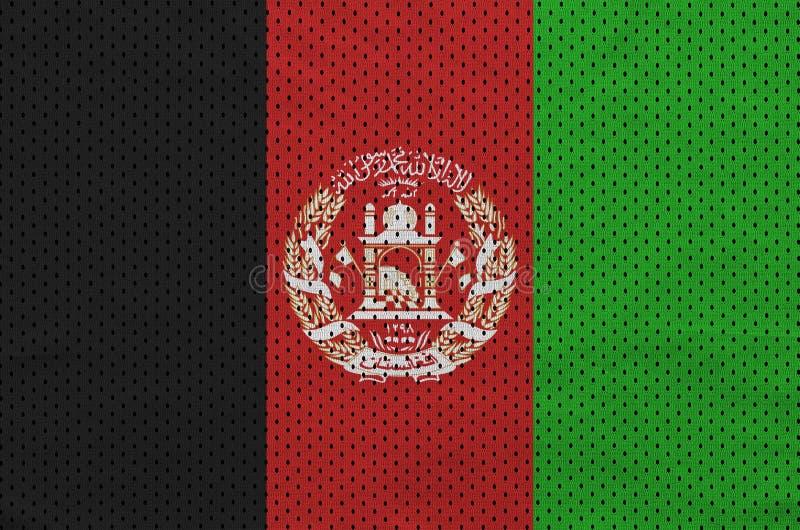 Afghanistan flagga som skrivs ut på en fa för ingrepp för polyesternylonsportswear arkivbild
