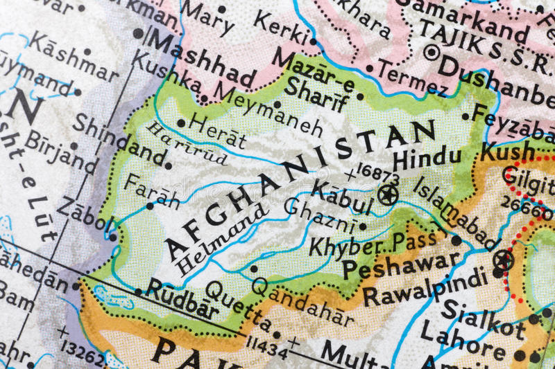 Afghanistan on a globe royalty free stock photography
