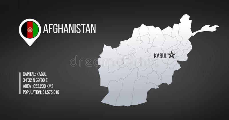 Afghanistan ha dettagliato la mappa con le regioni e la stella capitale di Kabul e le informazioni di statistica Illustrazione di royalty illustrazione gratis