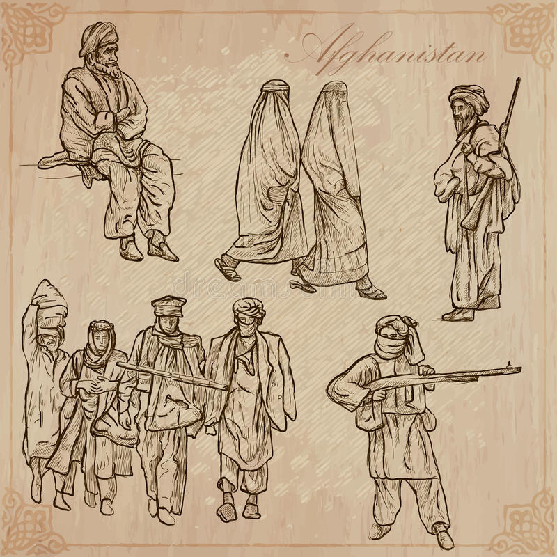 afghanistan Hand getrokken vectorpak nr vector illustratie