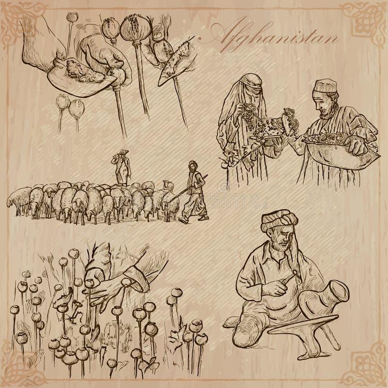 afghanistan Hand getrokken vectorpak nr stock illustratie