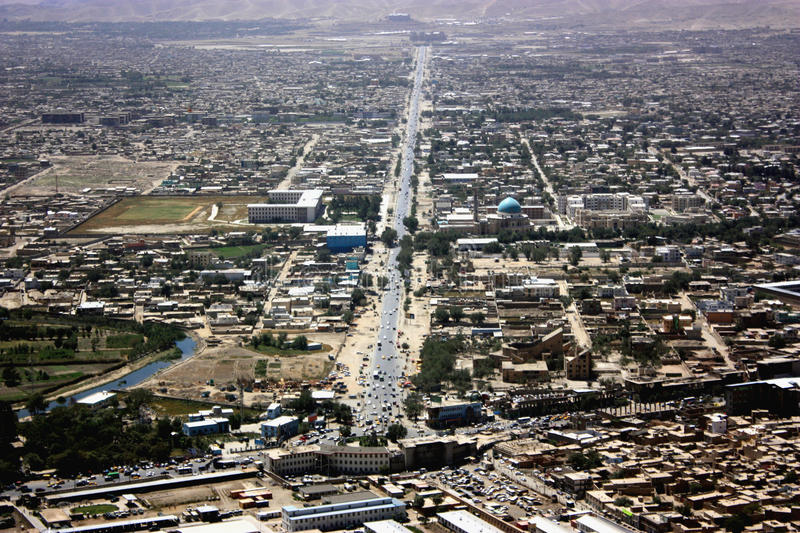 Afghanistan Kabul. The capital of Afghanistan view from above stock photo