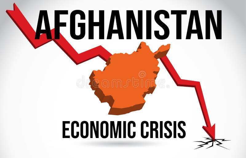 Afghanistan Map Financial Crisis Economic Collapse Market Crash Global Meltdown Vector. Illustration vector illustration