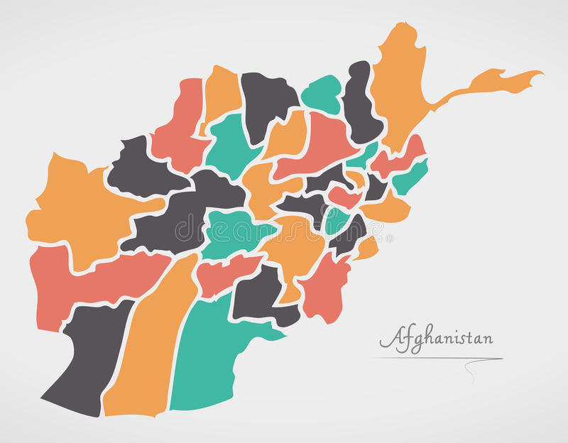Afghanistan Map with states and modern round shapes. Illustration stock illustration