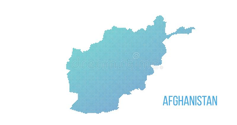 Afghanistan map. Vector halftone composition made out of squares. Vector illustration isolated on white background. Afghanistan map. Vector halftone composition royalty free stock photos