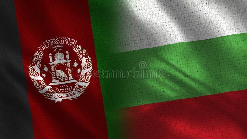 Afghanistan och för Bulgarien realistiska halva flaggor tillsammans arkivfoto