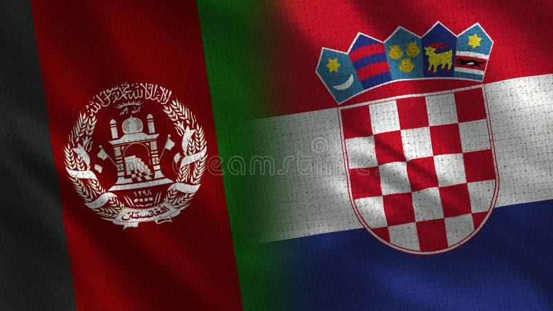 Afghanistan och för Kroatien realistiska halva flaggor tillsammans arkivfoto