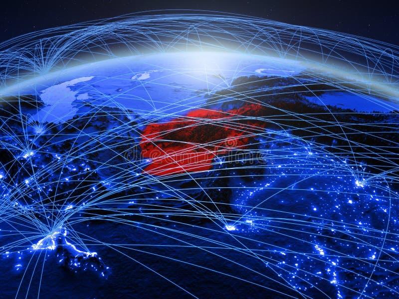Afghanistan op blauwe digitale aarde met internationaal netwerk die mededeling, reis en verbindingen vertegenwoordigen 3d royalty-vrije stock fotografie