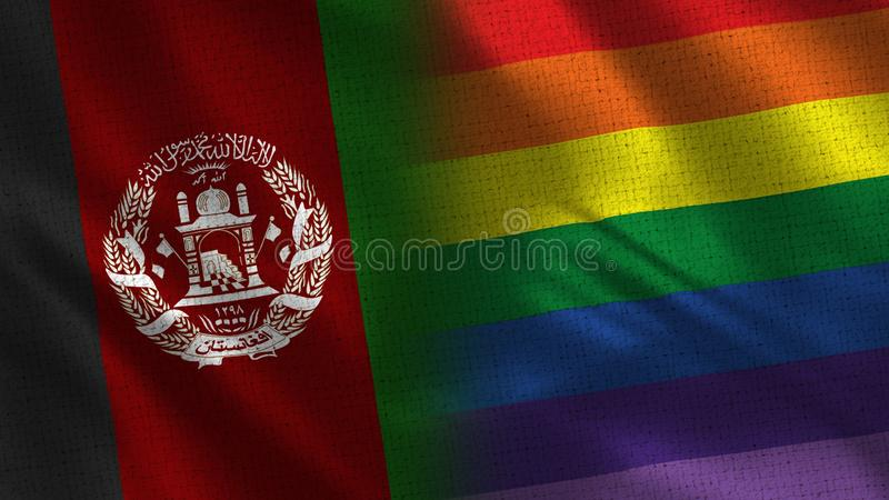 Afghanistan and Pride Realistic Half Flags Together. Fabric Texture - High Quality stock photos