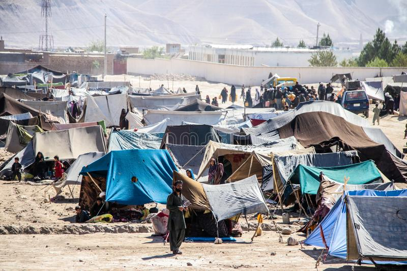 Afghanistan refugee camp in the North West in the middle fighting season stock images