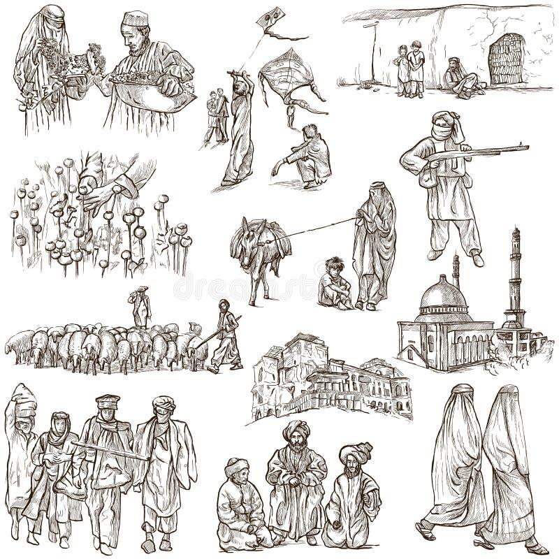 Afghanistan: Reis rond de Wereld Een hand getrokken illustratie vector illustratie