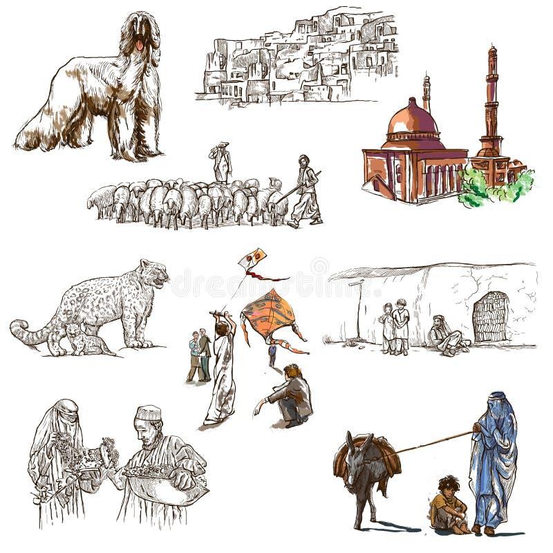 Afghanistan: Reis rond de Wereld Een hand getrokken illustratie royalty-vrije illustratie