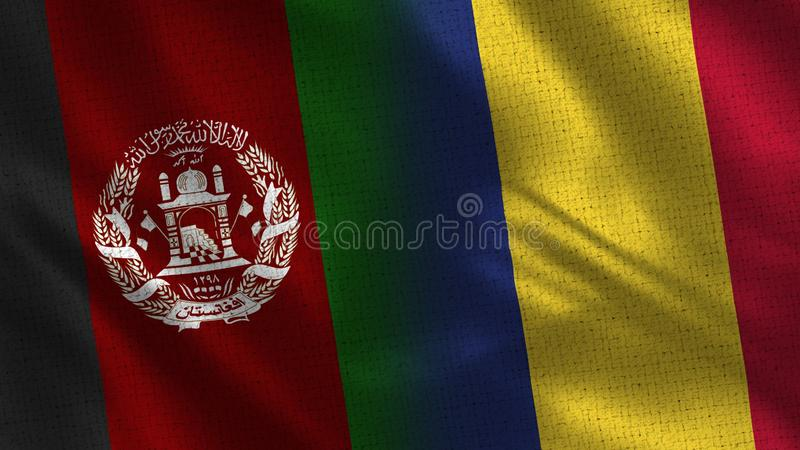 Afghanistan and Romania Realistic Half Flags Together stock photo