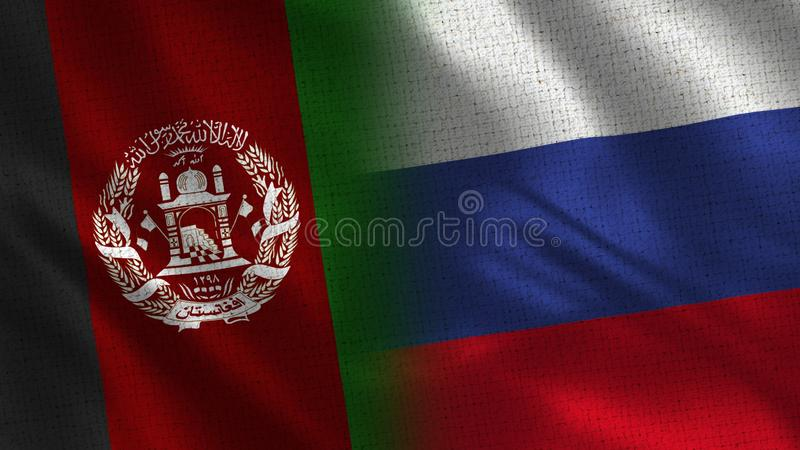 Afghanistan and Russia Realistic Half Flags Together stock photos