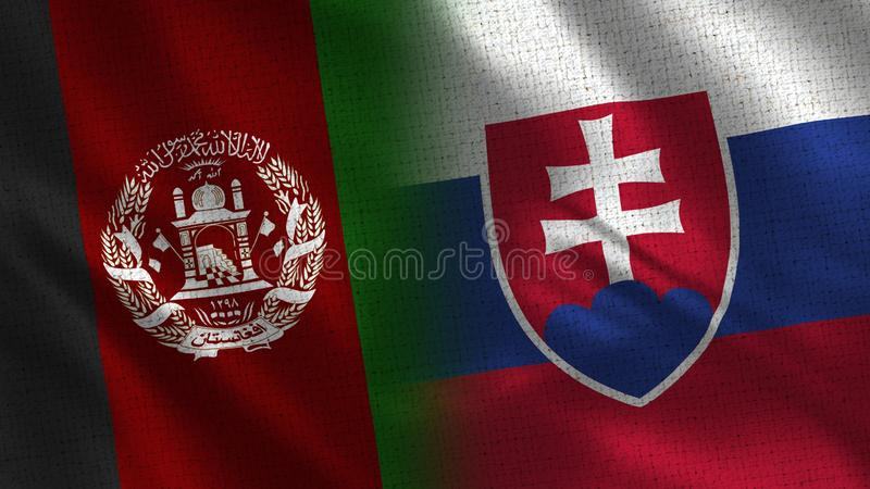 Afghanistan and Slovakia Realistic Half Flags Together stock photography