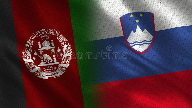 Afghanistan and Slovenia Realistic Half Flags Together stock photo