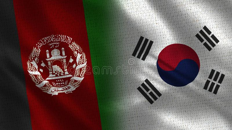 Afghanistan and South Korea Realistic Half Flags Together stock photography