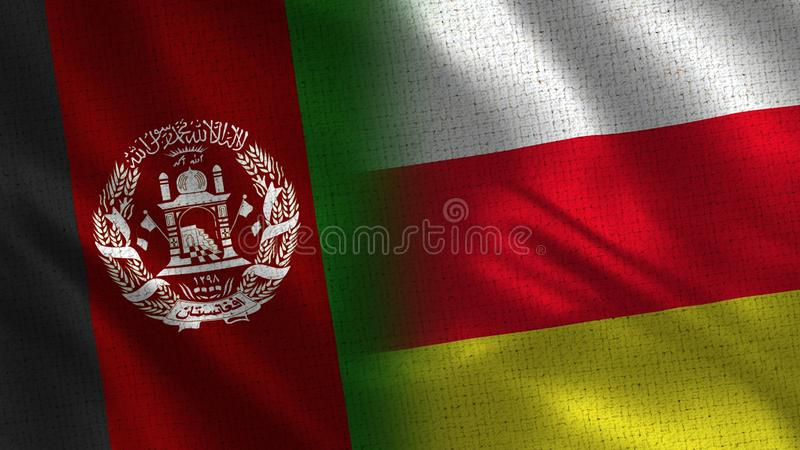 Afghanistan and South Ossetia Realistic Half Flags Together stock photo