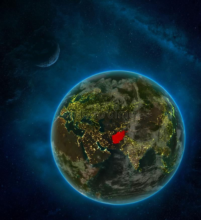 Afghanistan from space on Earth at night surrounded by space with Moon and Milky Way. Detailed planet with city lights and clouds. 3D illustration. Elements of royalty free illustration