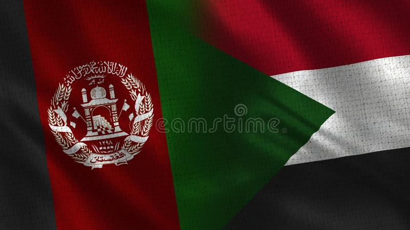 Afghanistan and Sudan Realistic Half Flags Together stock photo
