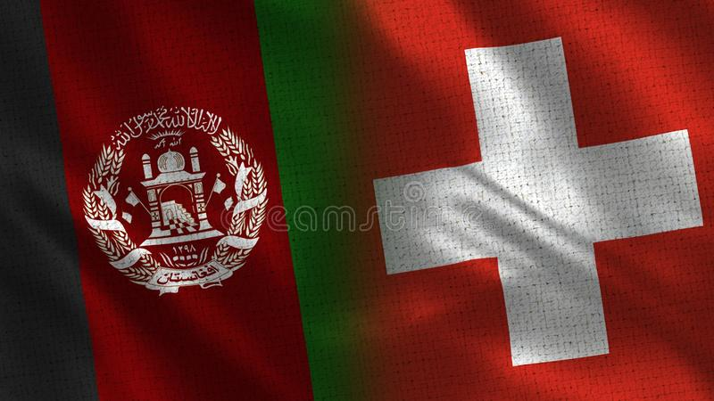 Afghanistan and Switzerland Realistic Half Flags Together stock photo