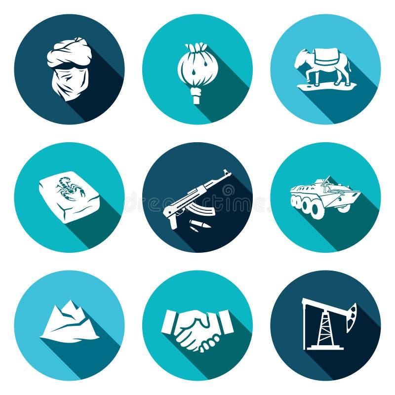 Afghanistan symbolsuppsättning vektor illustrationer