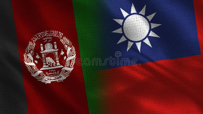 Afghanistan and Taiwan Realistic Half Flags Together stock photography