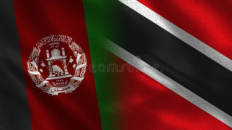 Afghanistan and Trinidad Tobago Realistic Half Flags Together stock images