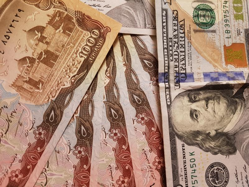 Afghanistan and the United States Join in the trade and economy, banknotes Use it as a Forex or Financial.  royalty free stock images