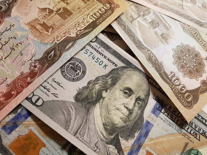 Afghanistan and the United States Join in the trade and economy, banknotes Use it as a Forex or Financial.  stock photos