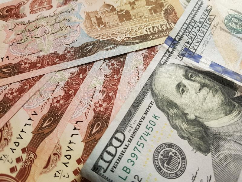 Afghanistan and the United States Join in the trade and economy, banknotes Use it as a Forex or Financial.  royalty free stock photo